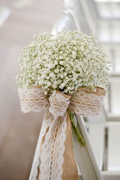 Burlap, lace and baby's breath wedding aisle chair decor                                                                                                                                                                                 More