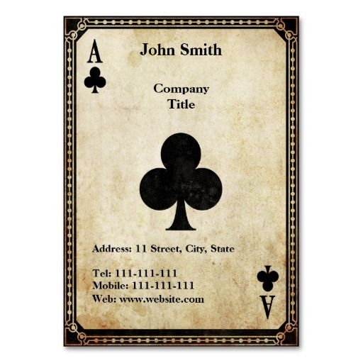 Vintage Ace of Clubs Business Card Template