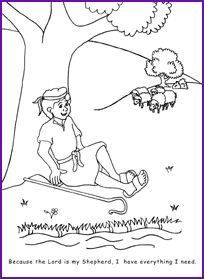 david psalm 23 coloring page kids korner biblewise