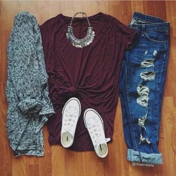 jeans t-shirt red necklace white converse grey cardigan shirt urban fall outfits style boyfriend jeans Accessory jewels  Different shoes