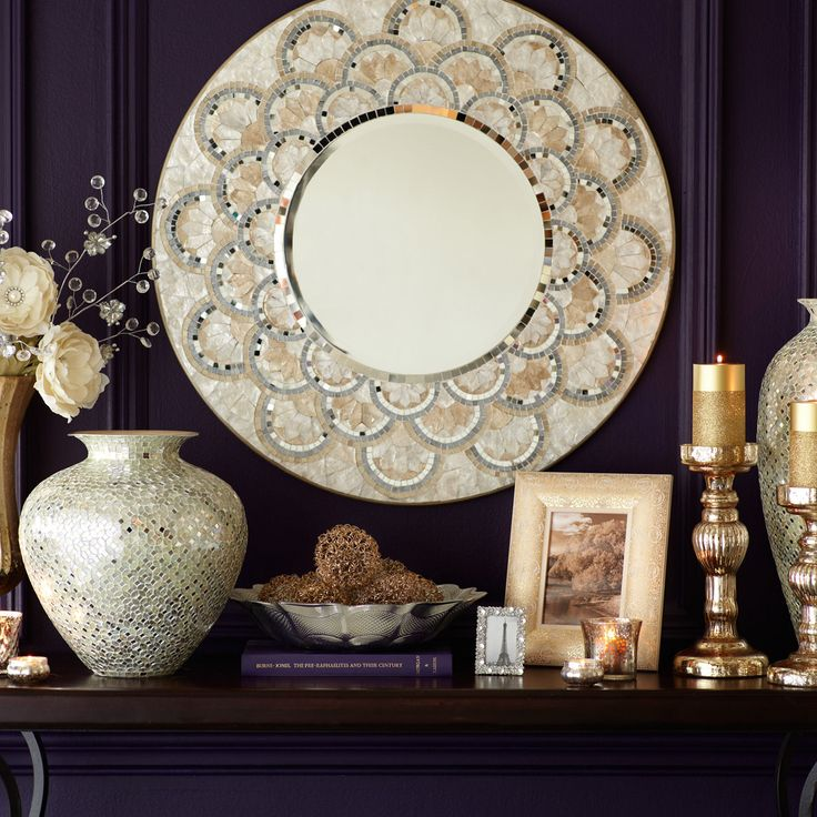 Pier 1 179 95 Gold Ivory Silver 31 50 Quot Dia X 1 Quot D Engineered Wood Capiz Shell Mirror Glass