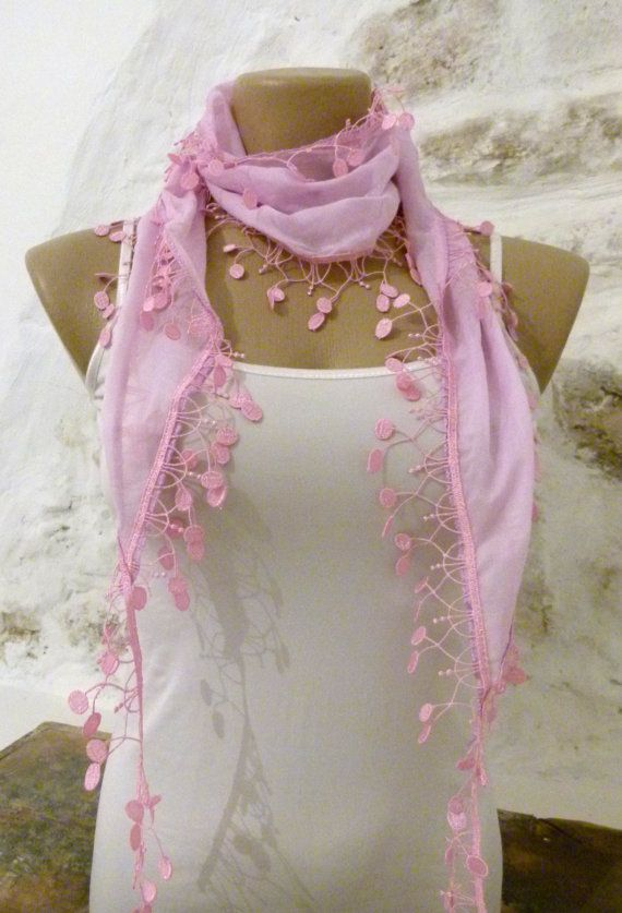 Pink Scarf with fringe Light pink summer Scarf by ShawlsandtheCity, $15.00