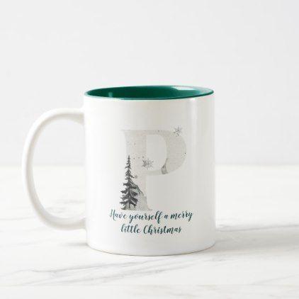 Christmas Mug Letter P simple style - Xmas ChristmasEve Christmas Eve Christmas merry xmas family kids gifts holidays Santa
