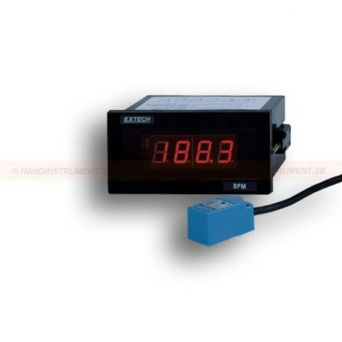 http://handinstrument.se/tachometer-stroboskop-r1243/varvraknare-varvtalsmatare-panelutforande-53-461950-r1264  Varvräknare / varvtalsmätare, panelutförande  Mät rpm från 5 till 99.990 rpm med mikroprocessor kvartskristall noggrannhet 0,05%  Stora LED display uppdateringar 1/sek (rpm <60)  Upplösning 0.1rpm (5 till 1000 rpm), 1rpm (1000 till 999rpm), 10 rpm (10.000 varv per minut till 99.990 varv per minut)  Unik design tillåter rpm mätningar av ett ett hål växel eller disk eliminerar...