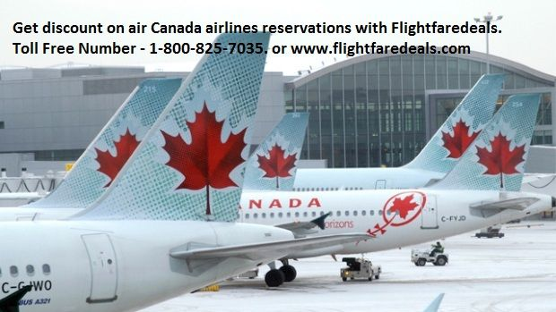 Get discount on air Canada airlines reservations with Flightfaredeals.  Air Canada airline is first -class airlines in the Canada.  Produce flights for all destinations worldwide. Get discount on air Canada airline reservations with flightfaredeals. Flight fare deals is airline  ticketing company in U.S.A  and Canada. Provide discount air Canada airline tickets in u.s.a and Canada. For any need call this toll free number +1-800-825-7035 or email us :- support@flightfaredeals.com