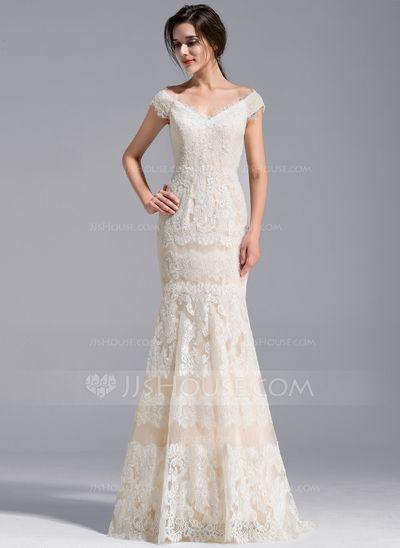 [US$ 334.49] Trumpet/Mermaid Off-the-Shoulder Sweep Train Lace Wedding Dress