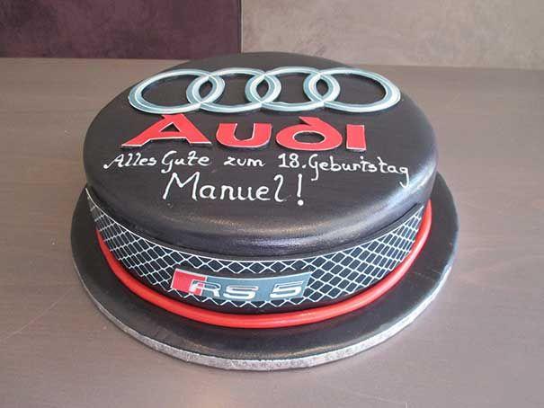 """Der Audi ist nicht nur ein leistungsstarkes Fahrzeug....Nein,... in unserem Fall ist er verführerisch lecker und lässt die Männerherzen höher schlagen. Natürlich darf die Liebste auch mal probieren, aber nur von der Beifahrerseite aus """"wink""""-Emoticon #Geburtstagstorte #Audi #Berlin"""