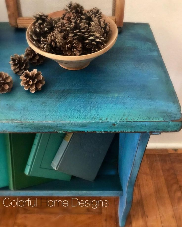 "128 Likes, 1 Comments - Krissy Pastore (@colorfulhomedesigns) on Instagram: ""Painted this rustic bookcase in Annie Sloan with layers of Blues & Greens. 💙💚#vintage #vintagefinds…"""