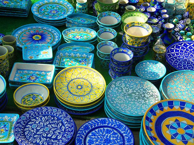 Blue pottery is widely recognized as a traditional craft of Jaipur, though it is Turko-Persian in origin.The use of blue glaze on pottery made from, Fuller's earth, is essentially a foreign art which was imported into India.The name 'blue pottery' comes from the eye-catching blue dye used to color the pottery. The technique permeated down to the plains of Delhi, and in the 17th century ended up in Jaipur. The rulers of Jaipur greatly encouraged the art & was used to decorate their palaces.