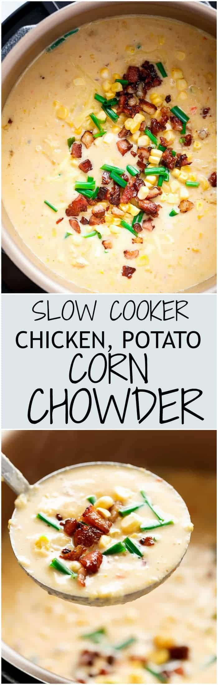 A Slow Cooker Chicken Potato Corn Chowder with crispy bacon pieces and mozzarella cheese! As simple as throwing ingredients into a slow cooker and letting it cook for you! (No Cream and Dairy Free Options!) | https://cafedelites.com