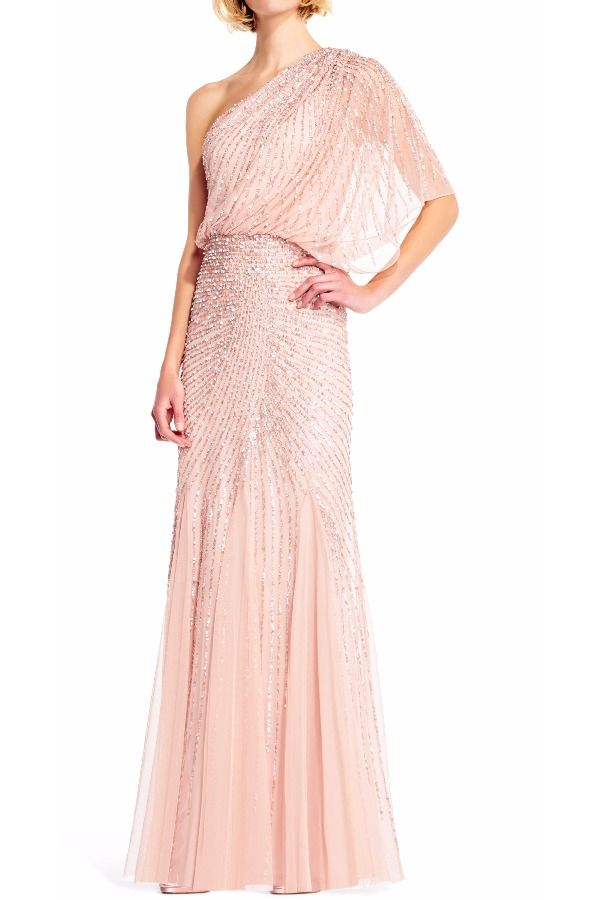 what does it mean when wedding invitation says black tie invited%0A Adrianna Papell One Shoulder Beaded Blouson Gown pink bridesmaids dress  summer wedding sprint wedding great Gatsby wedding