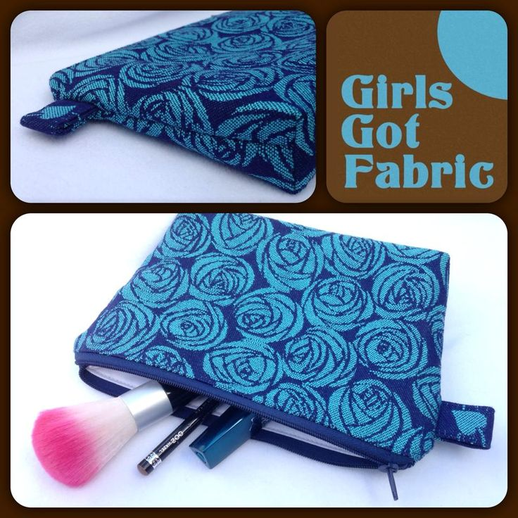 Custom Order Make-up bag made with Oscha Roses Blue Ice and lined with PUL.  https://www.facebook.com/GirlsGotFabric
