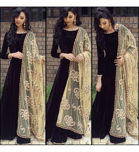 cotton Black Machine Work Semi Stiched Long Anarkali Suit