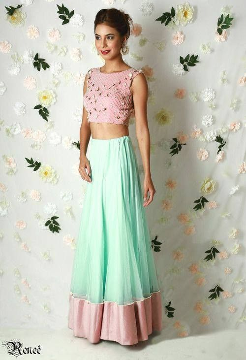 Pink crop top and mint color net skirt