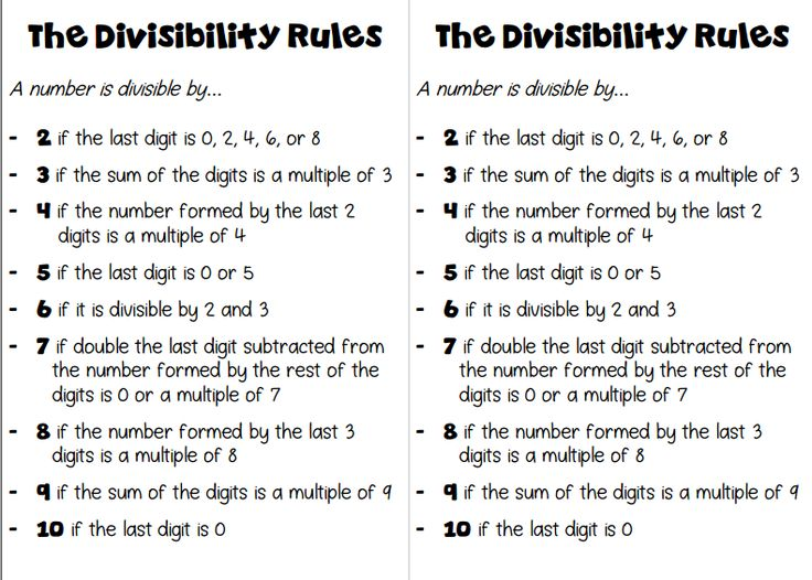 Free half-sheets for student notebooks on the divisibility rules!