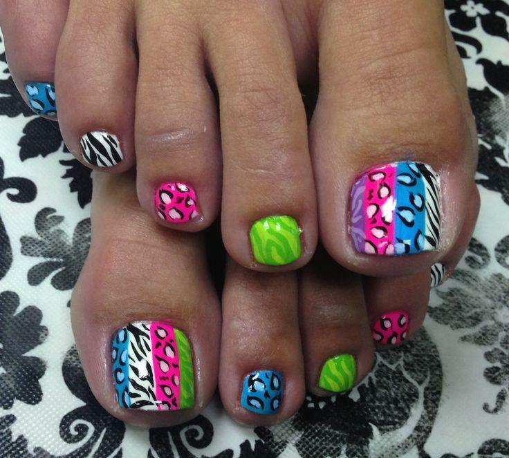 Multi colored toenail polish - 3 5