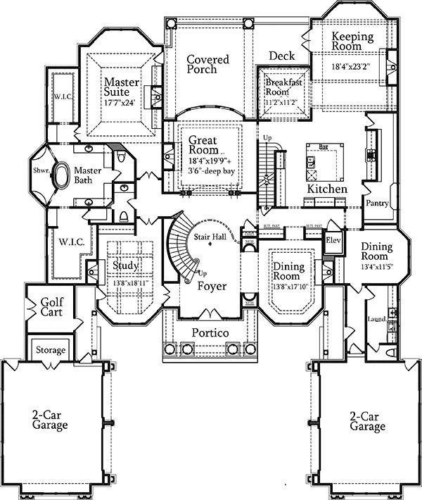 Plan 7203ds luxury with stately courtyard entry for Stately house plans