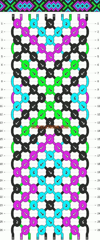 Normal Friendship Bracelet Pattern #13613 - BraceletBook.com