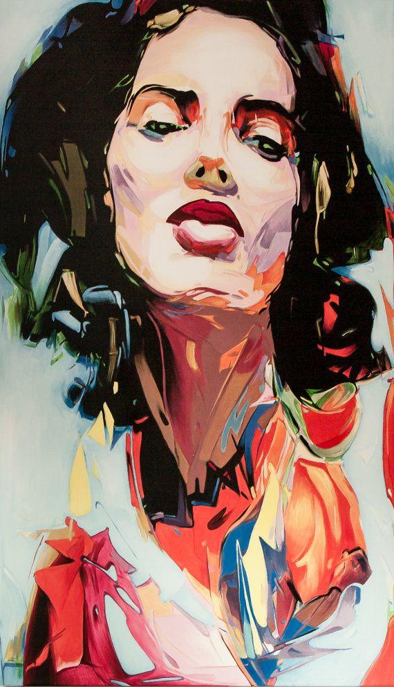 Abstract portrait Bella 120x70 by SztuknijSie on Etsy