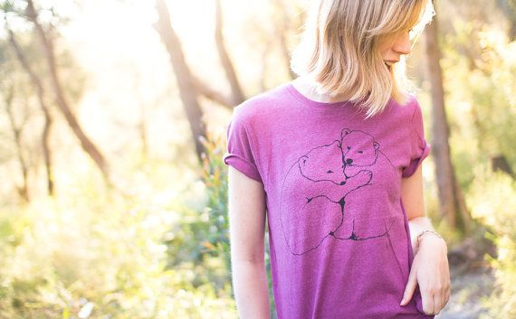 Eco Tshirt Plum Polar Bears 100 recycled organic by Cliffwatcher