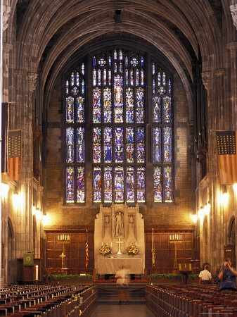 Cadet Chapel with Stained Glass Windows at the West Point Military Academy in New York