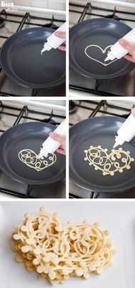 Squeeze Bottle Pancake Art. Cute breakfast idea for valentine's day :)