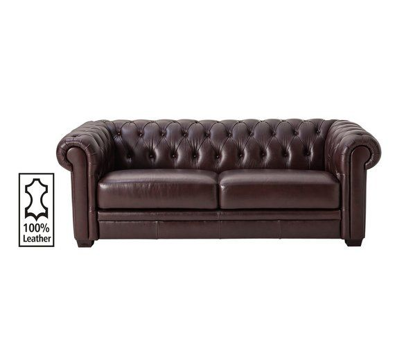 Buy Heart of House Chesterfield 3 Seater Leather Sofa -Chocolate at Argos.co.uk - Your Online Shop for Sofas, Living room furniture, Home and garden.
