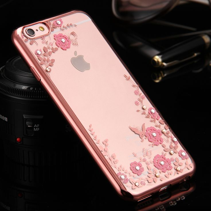 i5 5S SE Bling Diamond Flower Cover + Rose Gold Plating Frame Case For iPhone 5 5S For iPhone SE Luxury TPU Rubber Clear Fundas