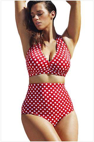 Plus Size Bikini Set Women Ladies Sexy Retro Padded Push Up High Waist Swimwear Swimsuit Bathing