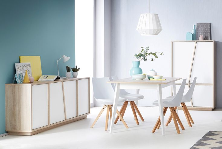 Salle à manger contemporaine chêne/blanc Estonie - Salle à manger complète - SALLE A MANGER