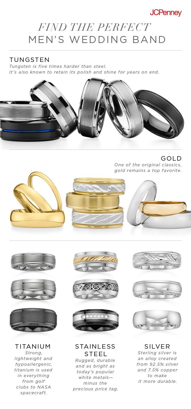 Wedding season is officially here. Get a head start on his forever wedding ring by doing a little homework on the metal that would suit him best. Beyond silver and gold, men's wedding bands have now expanded to other metals, like titanium, stainless steel and tungsten. Take note on what makes each ring unique, and find his perfect match at JCPenney.