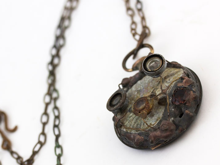 Ammonite necklace Flashlight  Gothic art  http://heavenscafe.net/?mode=grp=176750