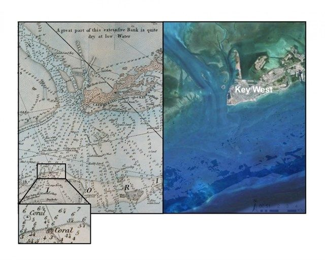 Cartas náuticas del siglo XVIII ilustran la pérdida de coral