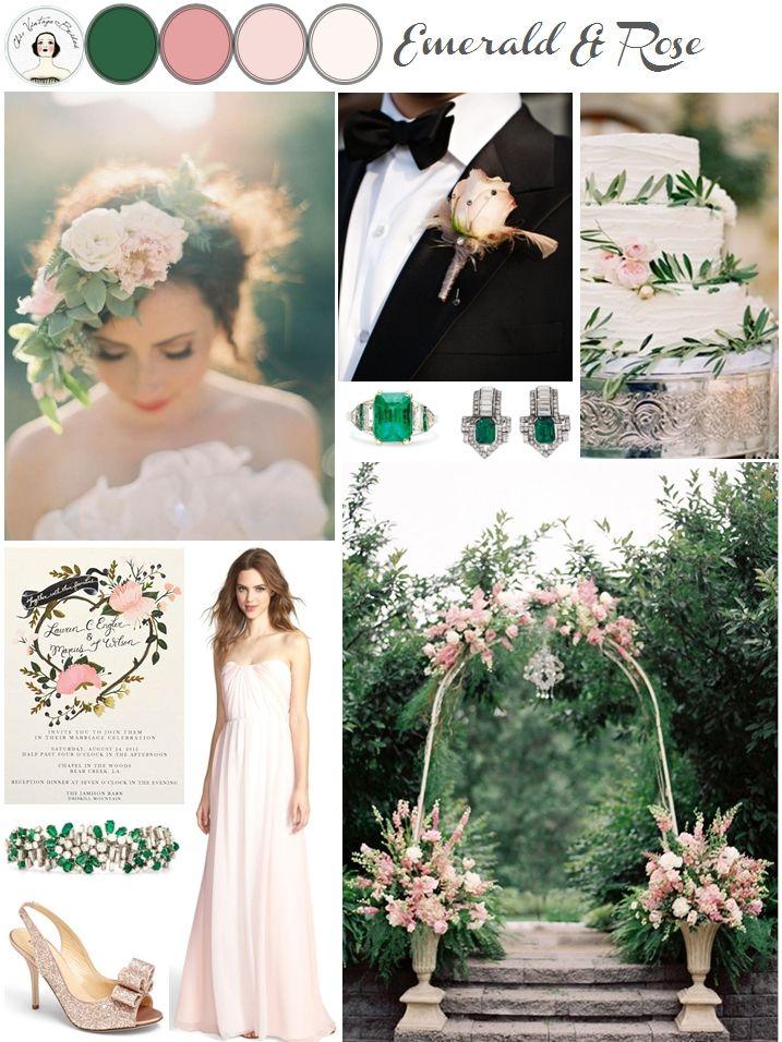 Emerald & Rose Pink Wedding Inspiration Board