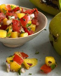 This looks scrumptious. Mango-Tomato Salsa? Yes, please!