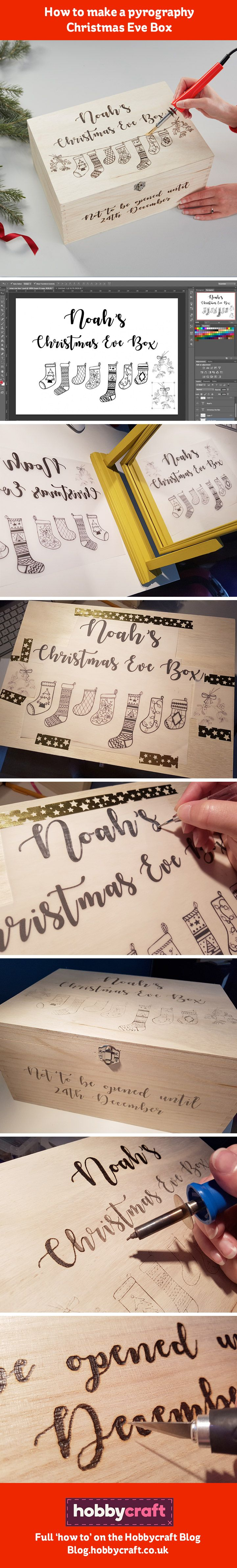 Create your own beautiful personalised Christmas Eve Box with a bit of pyrography. This traditional 'wood burning' technique uses a special tool to burn your design into the wood – which means you can personalise it to the max, using your favourite fonts and images! #ChristmasEveBox #ChristmasEveBoxIdeas #HowtomakeachristmasEveBox #Pygrography #PyrographyIdeas