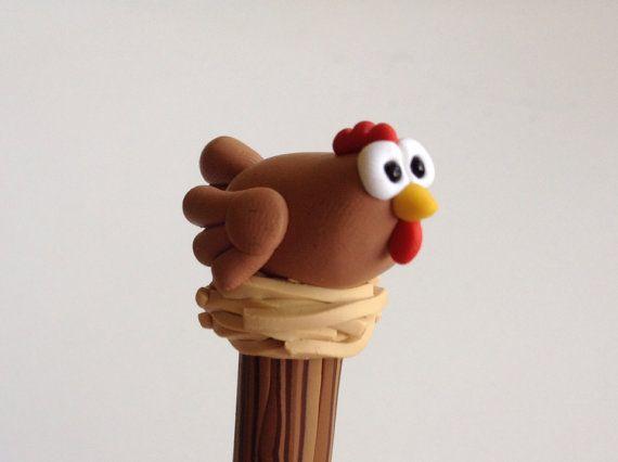 Arcilla del polímero bolígrafo gallina poco por handmademom en Etsy