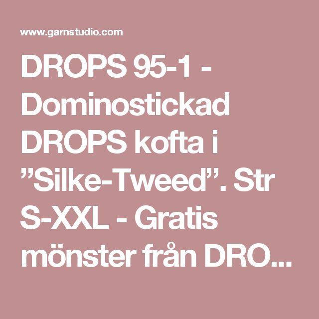 """DROPS 95-1 - Dominostickad DROPS kofta i """"Silke-Tweed"""". Str S-XXL  - Gratis mönster från DROPS Design"""