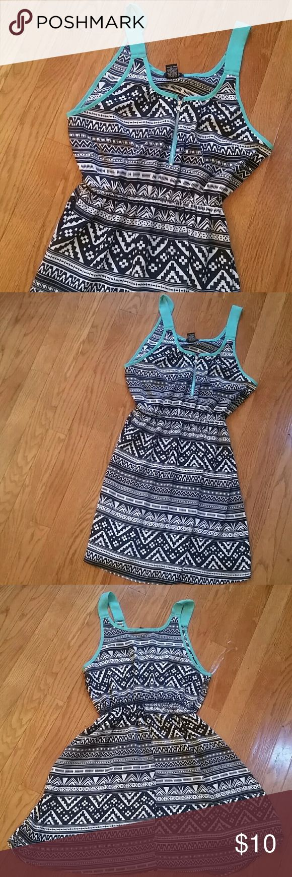Rue21 Aztec Summer Dress Black white and teal Aztec dress from Rue21. Exposed zipper on front, with elastic waist. Excellent used condition. Rue21 Dresses