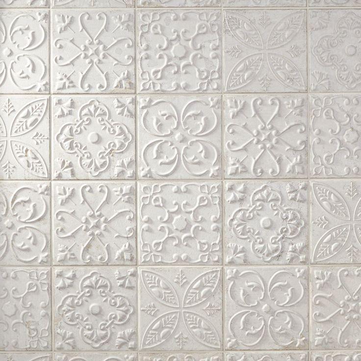 Aged White Ornato Matte Ceramic Tile White Tile