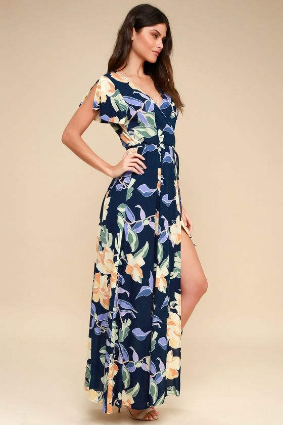 8de8782fa3d Lulus Exclusive! Win them over every time with the Lulus Heart of Marigold  Navy Blue Tropical Print Wrap Maxi Dress! Breezy woven rayon