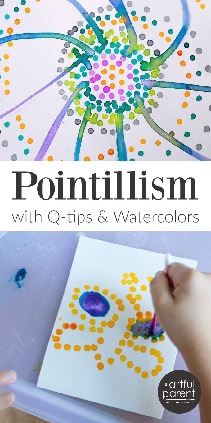 Watercolor books for kids - Pointillism Art For Kids With Q Tips And Watercolors Worth Repeating