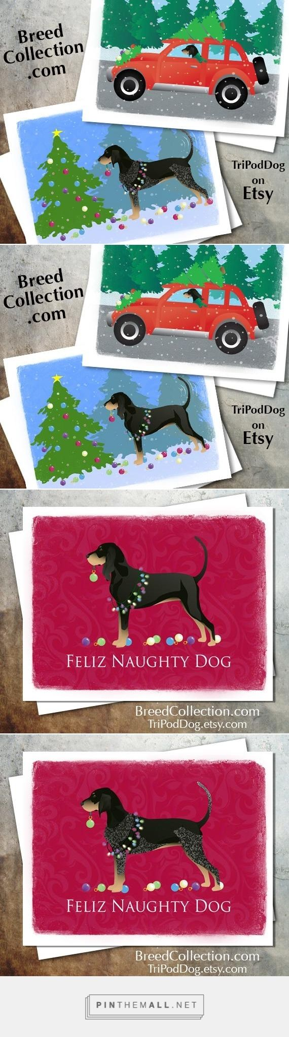 ❤ Black and Tan Coon hound and Bluetick Coonhound Dog Christmas Cards from the Breed Collection - Digital Download Printable - On Etsy