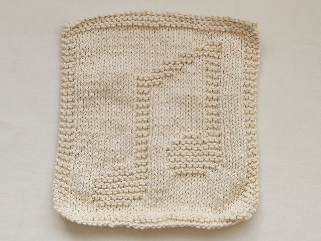 Music Notes Dishcloth - knitted.....