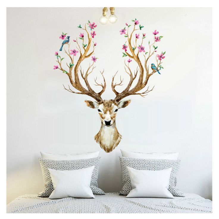 Flower Deer Head Wall Sticker //Price: $14.32 & FREE Shipping //     #housedecoration