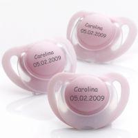 Chupetas NUK Starlight em silicone ou em látex. Pack composto por 3 chupetas rosa. Veja a disponibilidade dos tamanhos na loja www.chupetascomnome.com