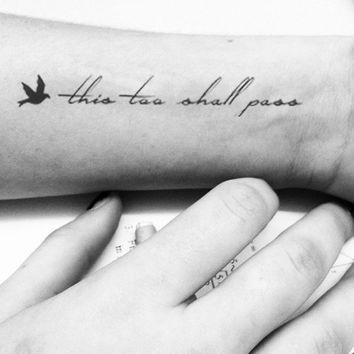 This Too Shall Pass quote with tiny bird temporary tattoo - InknArt Temporary Tattoo -  wrist neck ankle small tattoo tiny tattoo