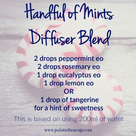 Handful of mints diffuser blend using peppermint, rosemary, eucalyptus, lemon or tangerine essential oils. 5 Spring Essential Oil Diffuser blends.