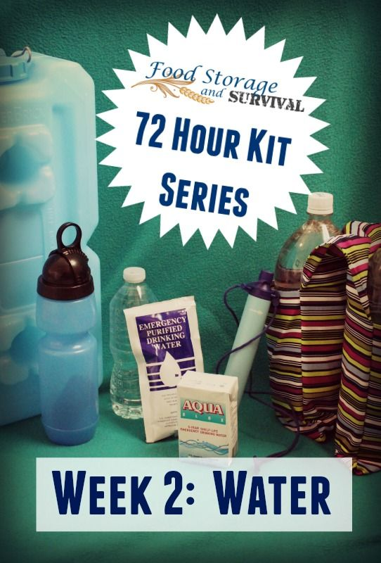 Join in building your own 72 hour emergency kit one week at a time. Excellent review of water options for your emergency kit!