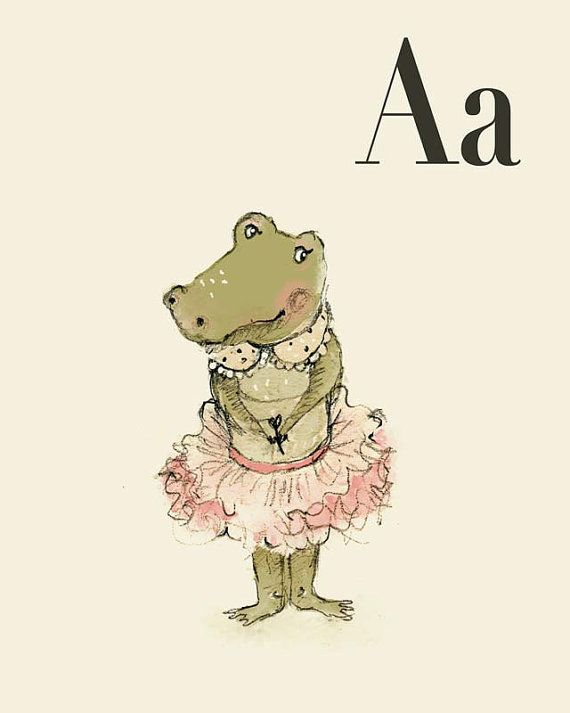 A for Alligator Girl, Alphabet animal,  Print 6x8 inches